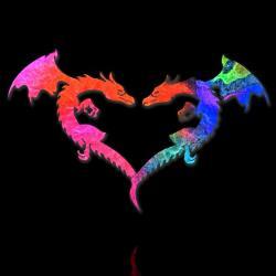 Liebe und Herz, gebildet durch zwei Drachen