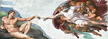 Michelangelo: Gott erschafft seinen ersten Sohn Adam